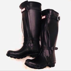 Hunter black fringe boots